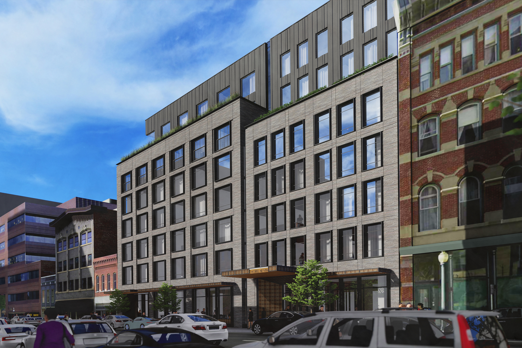Blake Street Hotel Rendering Entry Overall Perspective