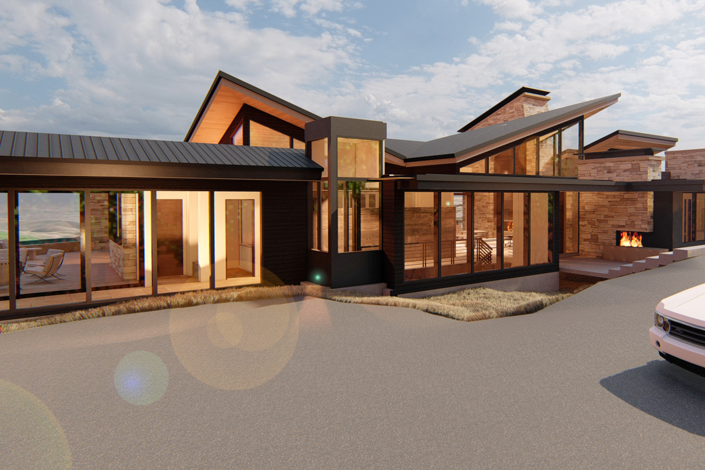 Park City Residence Rendering Exterior Entry Perspective