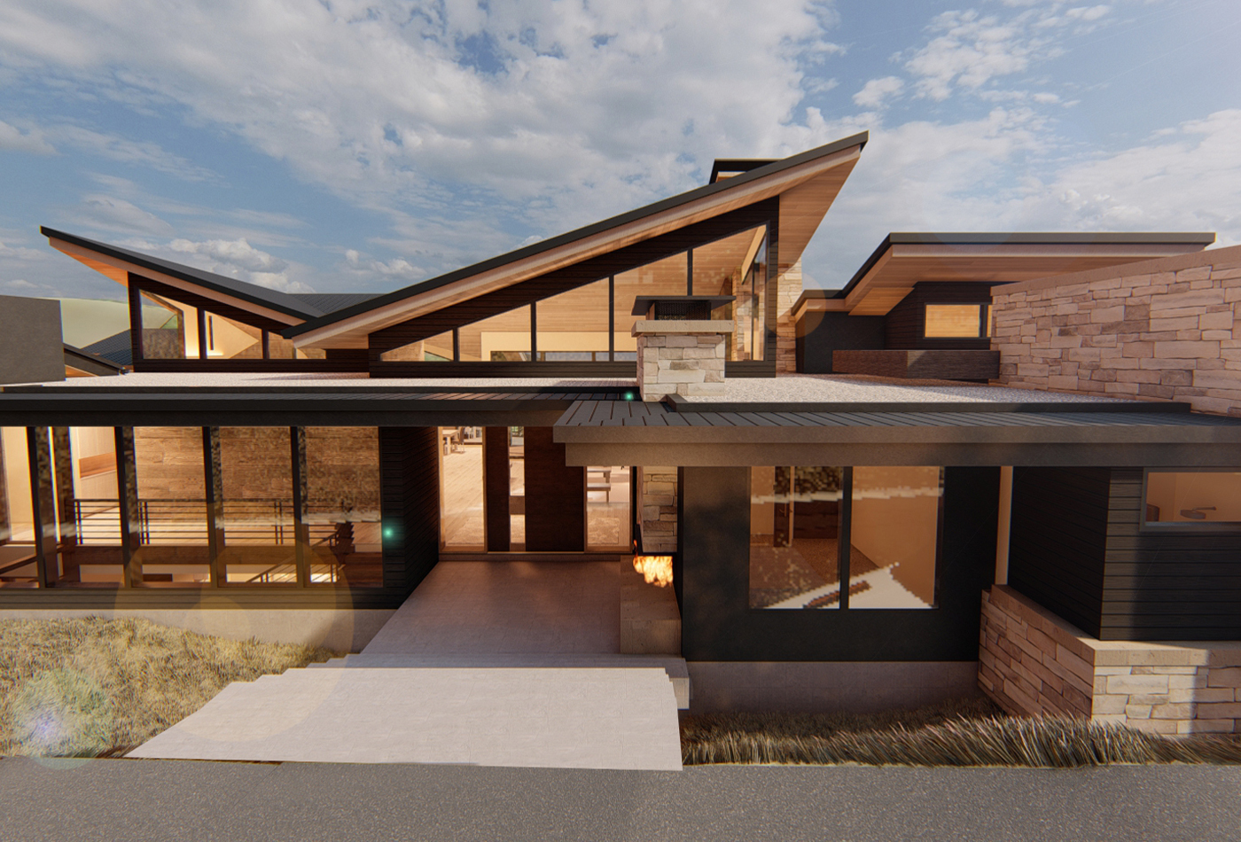 Park City Residence Rendering Exterior Entry