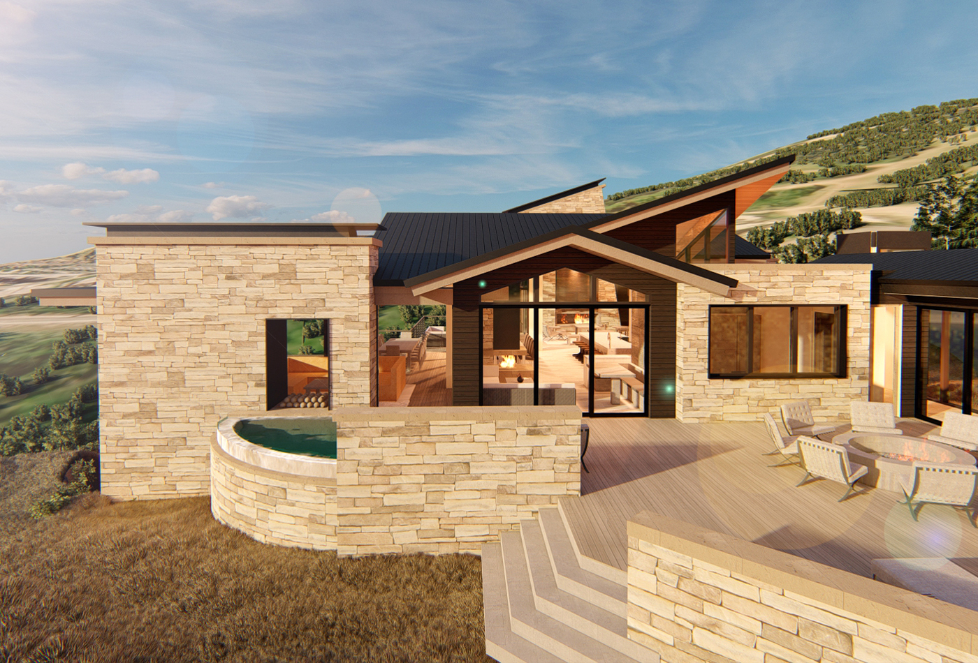Park City Residence Rendering Exterior Fire Pit Patio