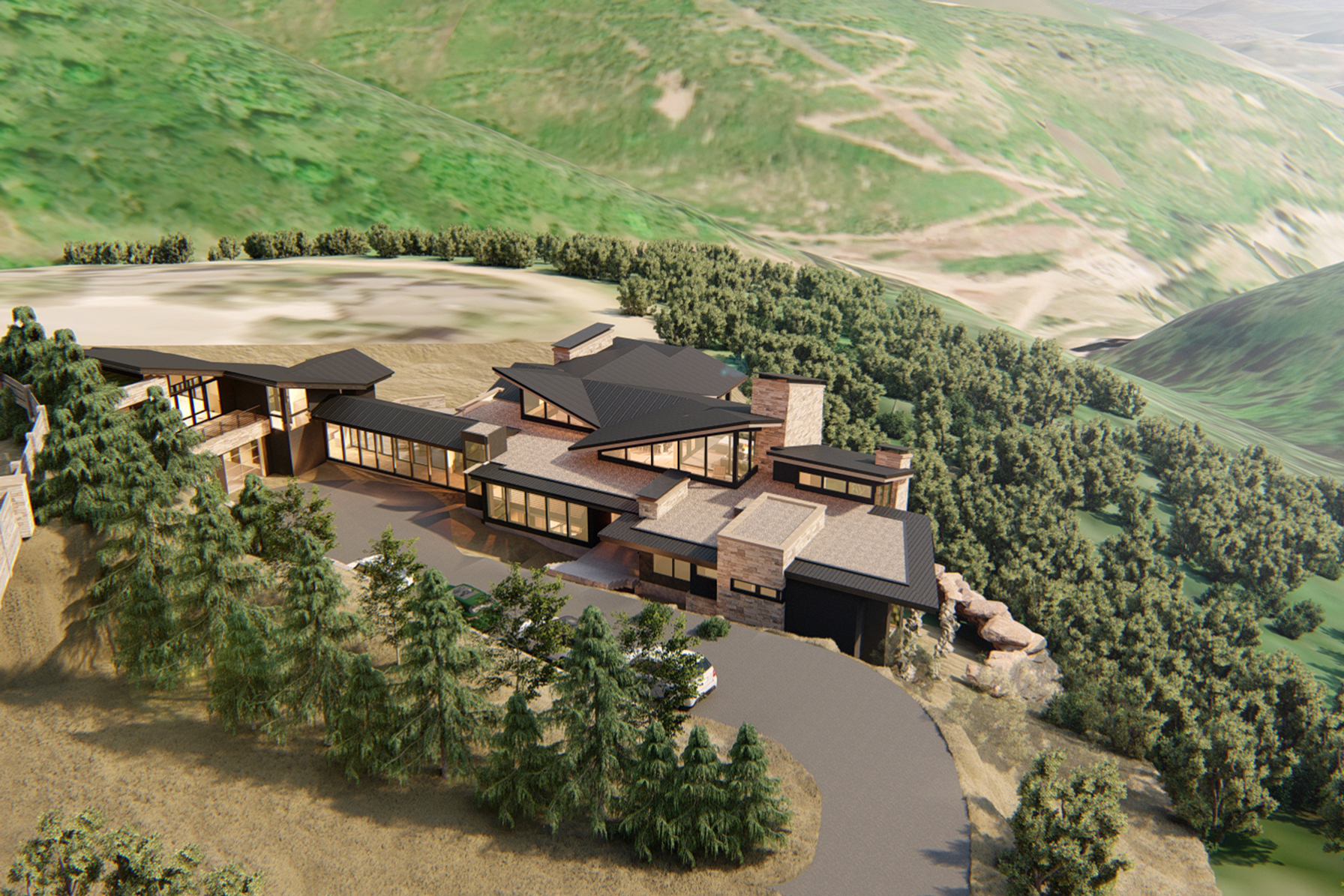 Park City Residence Rendering Exterior Fly Over