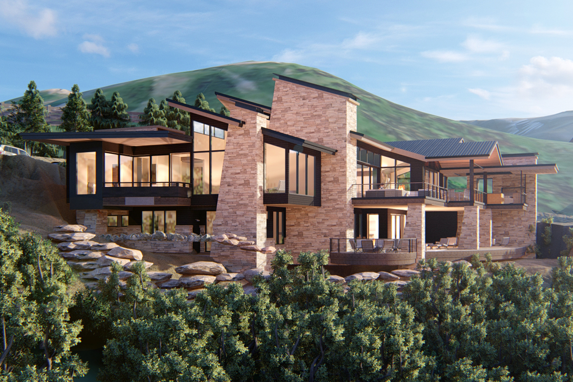 Park City Residence Rendering Rear Overall Exterior